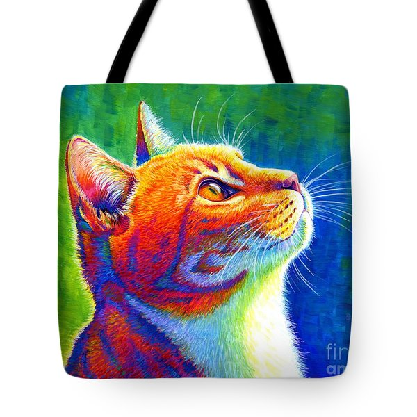 Rainbow Cat Portrait Tote Bag
