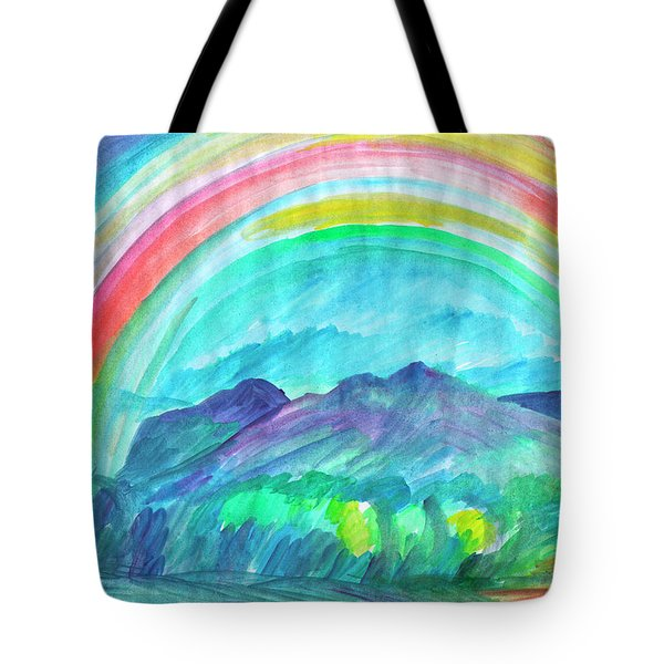 Tote Bag featuring the painting Rainbow by Dobrotsvet Art