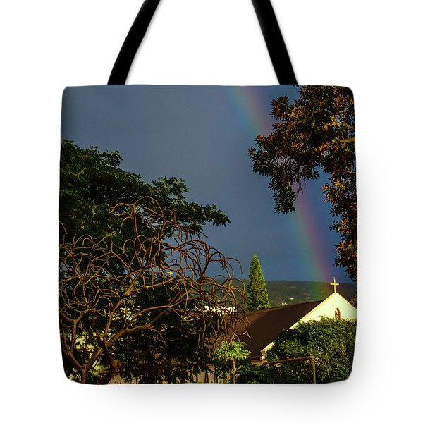 Rainbow Ended At The Church Tote Bag