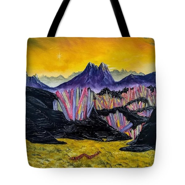 Tote Bag featuring the painting Rainbow Fries And Centipedes Somewhere In The Multiverse by Kevin Daly