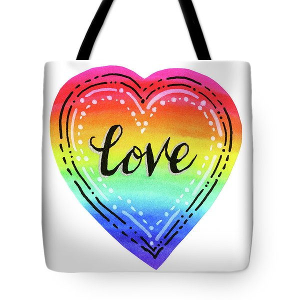 Rainbow Heart Love Tote Bag