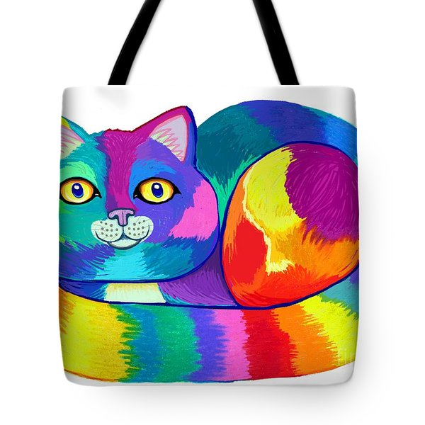Rainbow Spectrum Cat Tote Bag