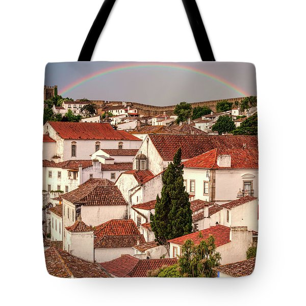 Tote Bag featuring the photograph Rainbow Over Castle by David Letts