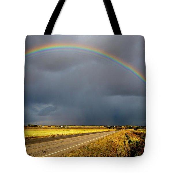 Rainbow Over Crop Land Tote Bag