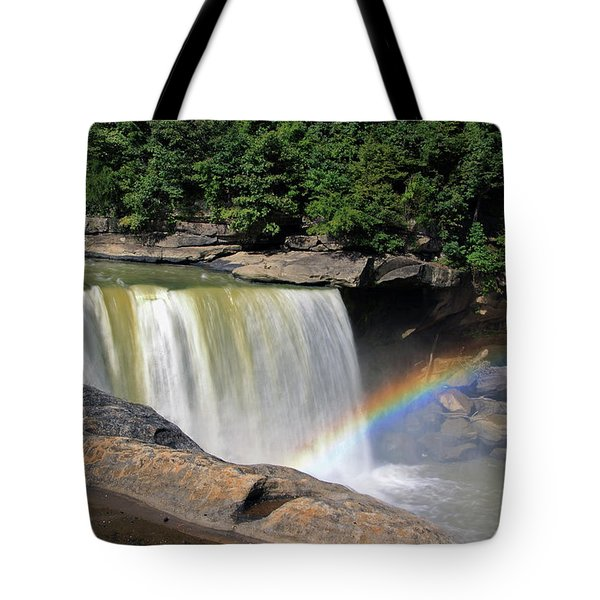 Tote Bag featuring the photograph Rainbow Over Cumberland Falls by Angela Murdock