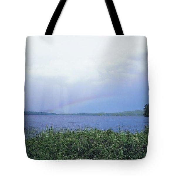 Rainbow Over Raquette Lake Tote Bag