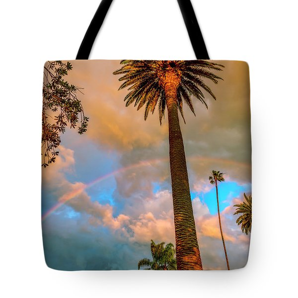 Rainbow Over The Palms Tote Bag
