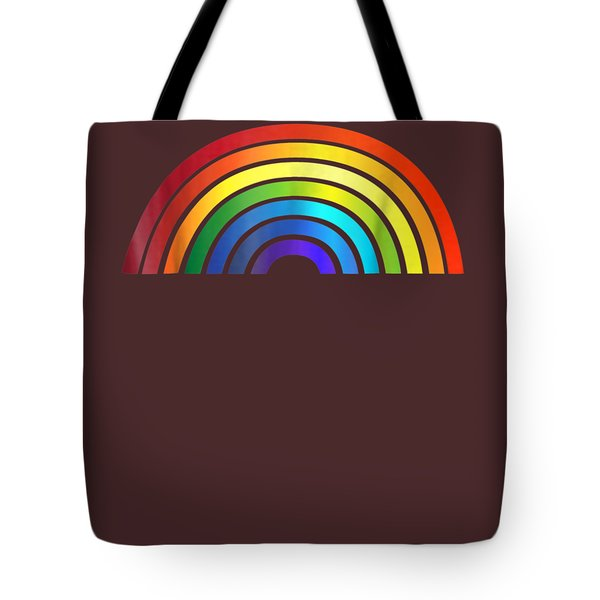 Rainbow T-shirt Simple Style Basic Glossy Stripe Design Tote Bag