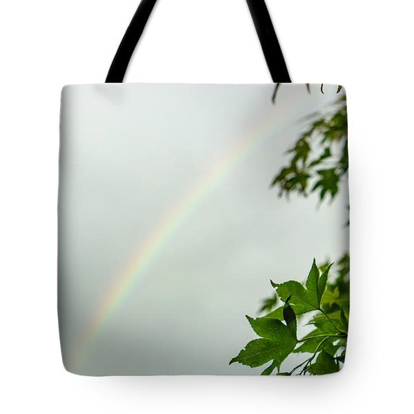 Rainbow With Leaves In Foreground Tote Bag