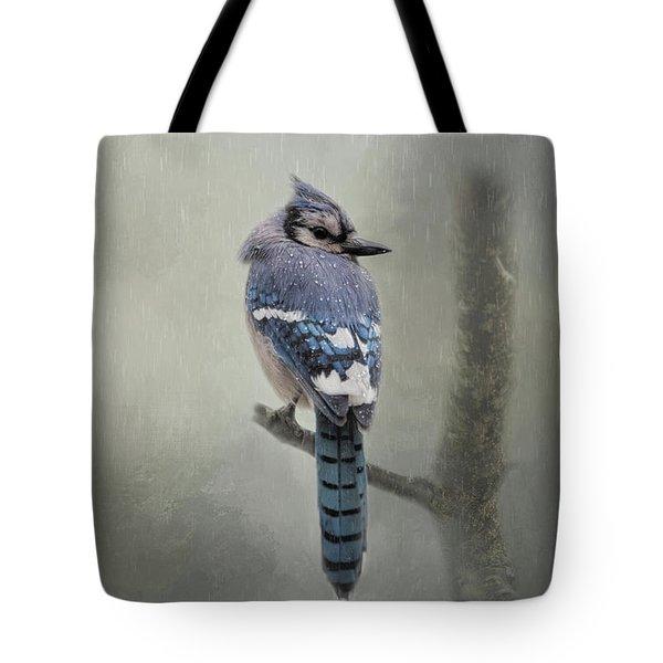 Rainy Day Blue Jay Tote Bag