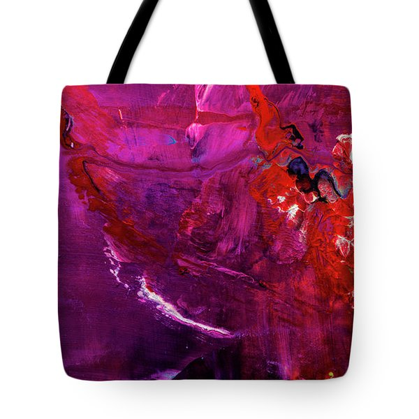 Rainy Day Woman - Purple And Red Large Abstract Art Painting Tote Bag