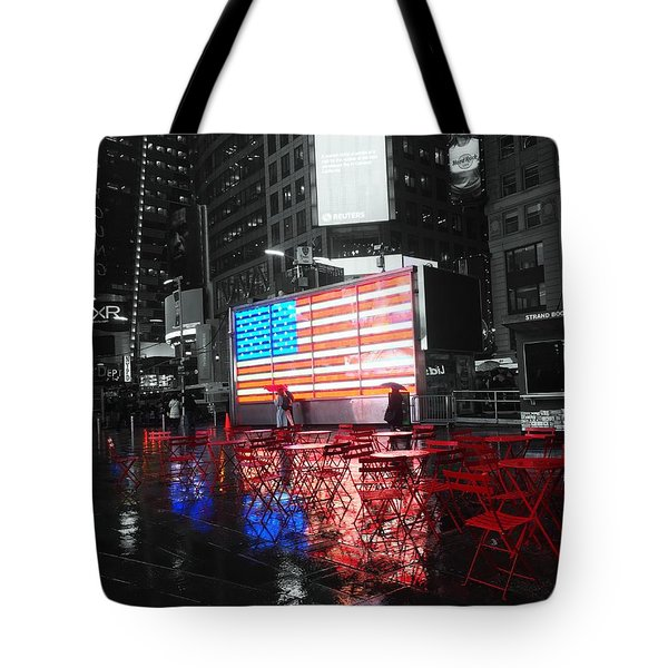 Rainy Days In Time Square  Tote Bag