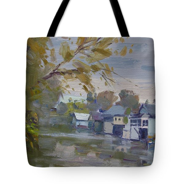 Rainy Fall By Boathouses Tote Bag