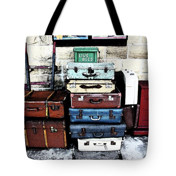 Ramsbottom.  Elr Railway Suitcases On The Platform. Tote Bag