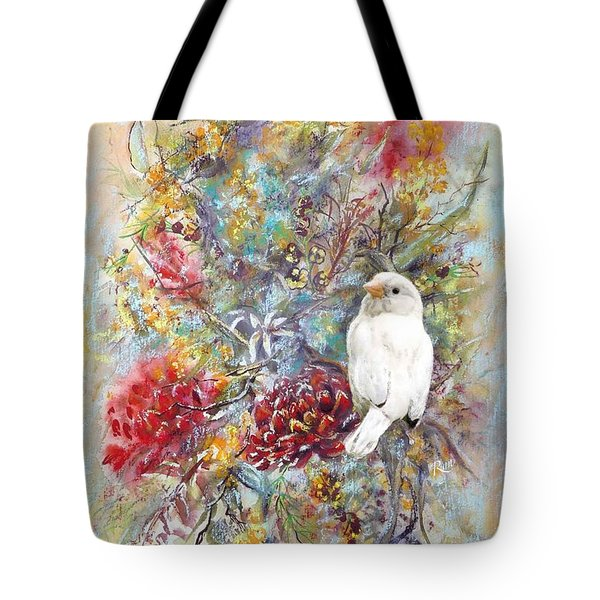 Rare White Sparrow - Portrait View. Tote Bag