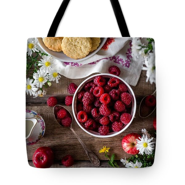 Tote Bag featuring the photograph Raspberry Breakfast by Top Wallpapers