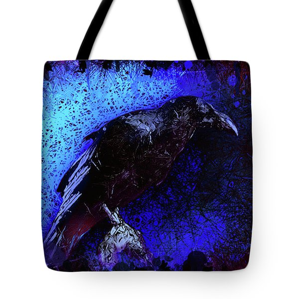 Tote Bag featuring the mixed media Raven by Al Matra