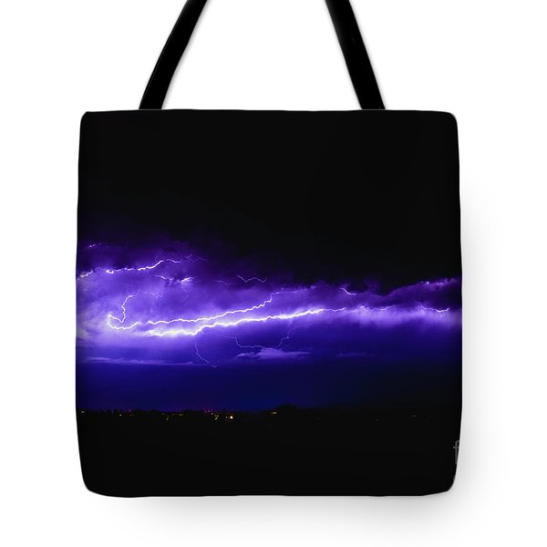 Rays In A Night Storm With Light And Clouds. Tote Bag