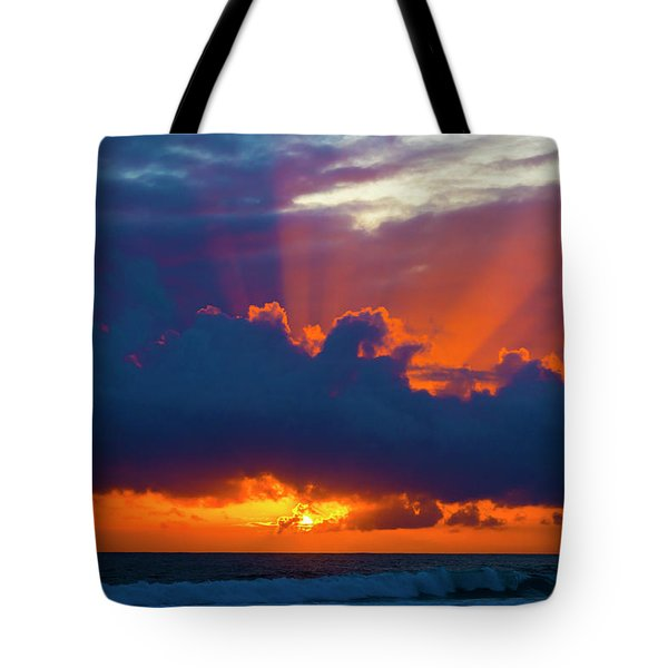 Rays Of Light Over The Ocean Tote Bag