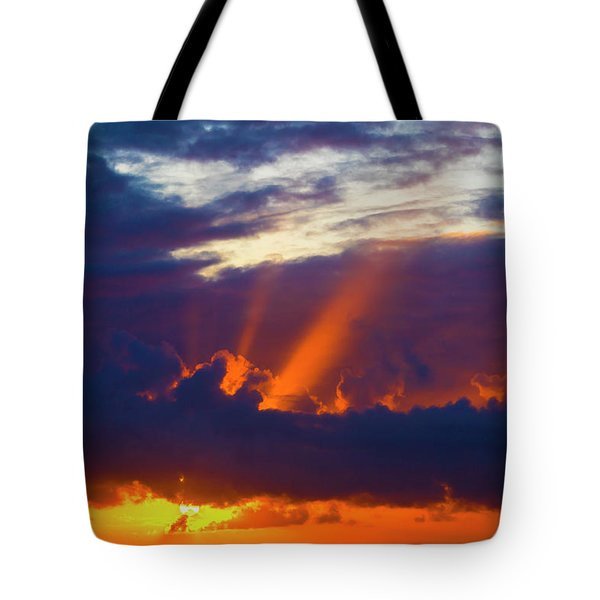 Rays Of Sunlight At Sunset Tote Bag