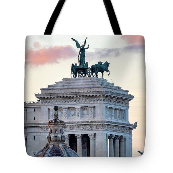 Tote Bag featuring the photograph Rear View Of The Altare Della Patria by Fabrizio Troiani