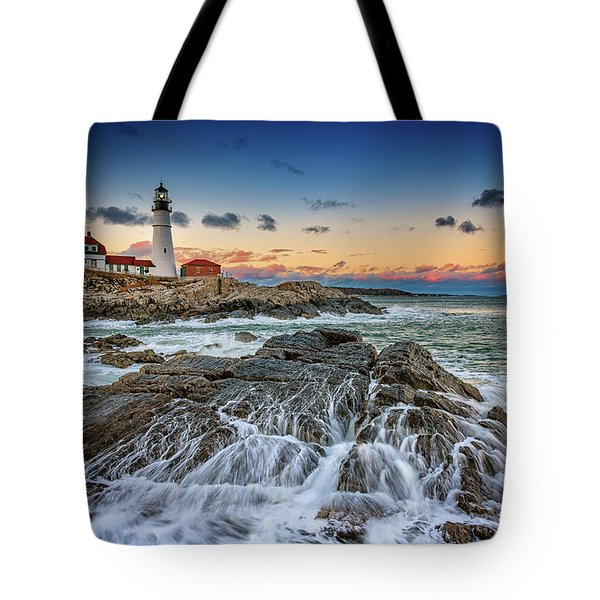 Receding Cascade At Portland Head Tote Bag