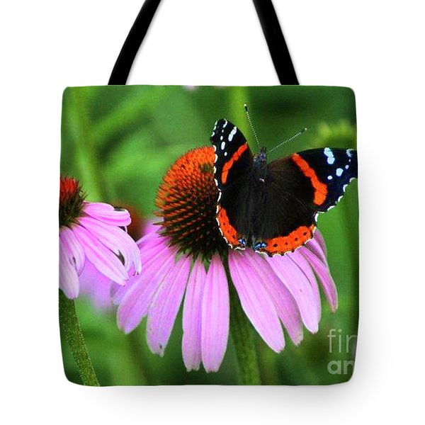 Red Admiral And Coneflowers Tote Bag