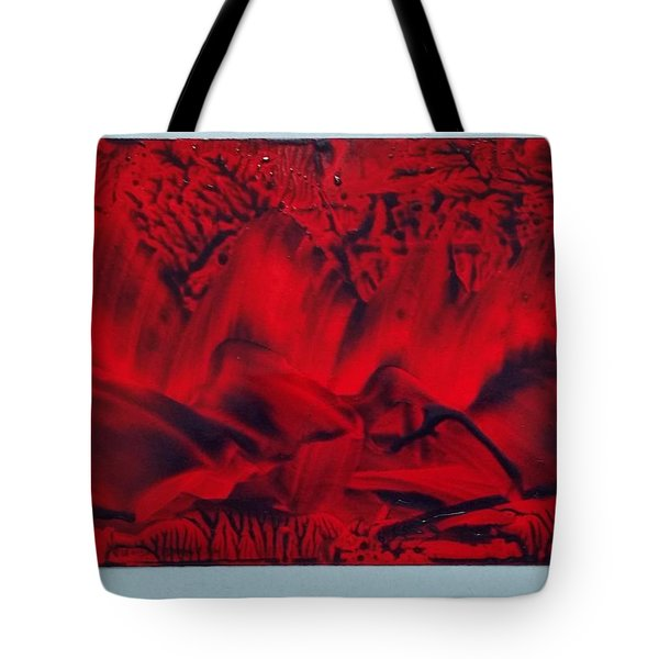 Red And Black Encaustic Abstract Tote Bag