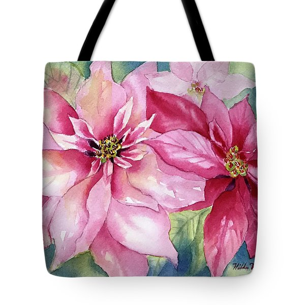 Red And Pink Poinsettias Tote Bag