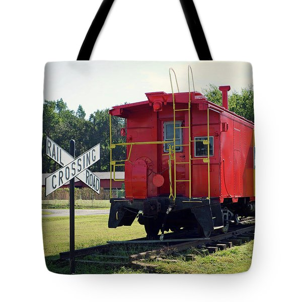 Tote Bag featuring the photograph Red And Yellow Caboose At Nassawadox by Bill Swartwout Fine Art Photography