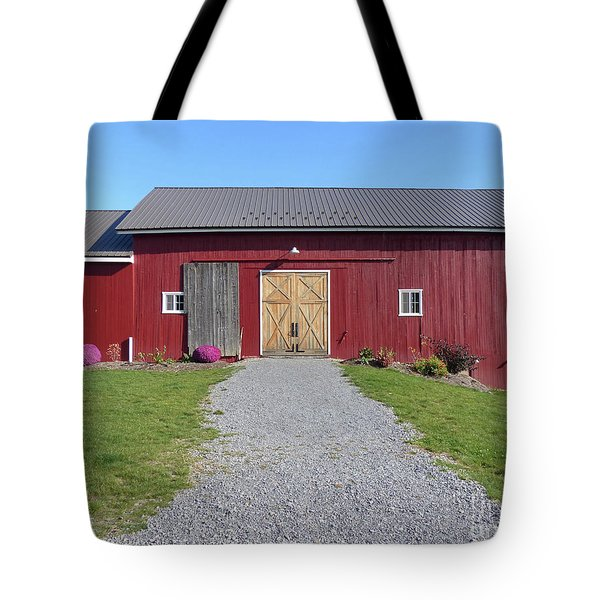 Tote Bag featuring the photograph Red Barn by Rosanne Licciardi