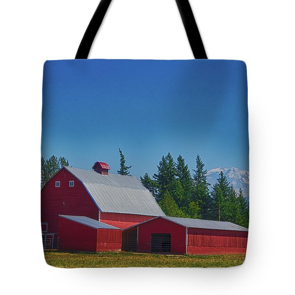 Red Barn With Mount Rainier Tote Bag