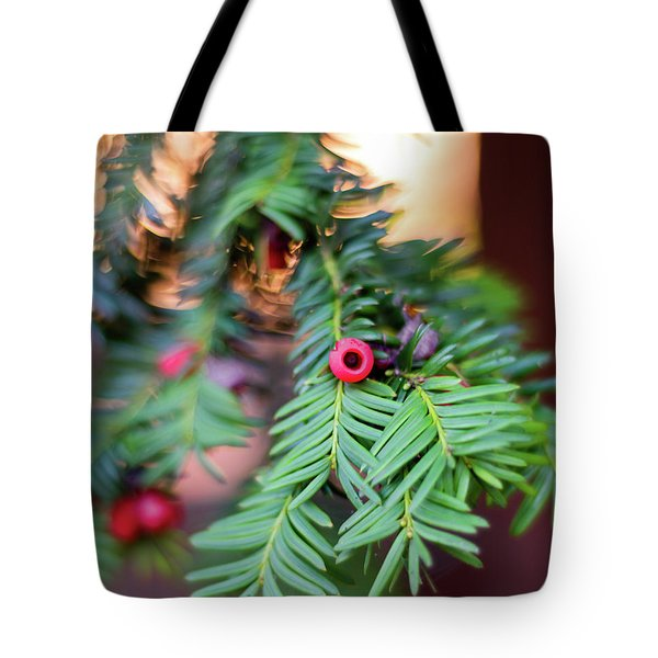 Tote Bag featuring the photograph Red Berry On Green by Scott Lyons