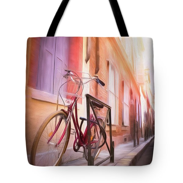 Red Bicycle Toulouse France  Tote Bag