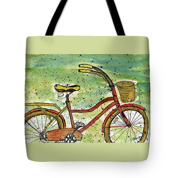 Red Bicycle Yellow Seat Tote Bag