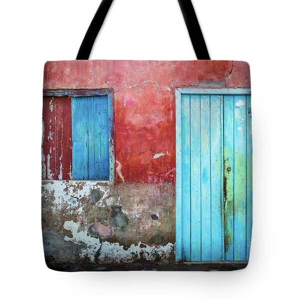 Red, Blue And Grey Wall, Door And Window Tote Bag