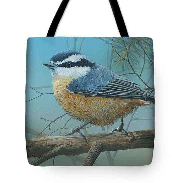 Red Brested Nuthatch Tote Bag