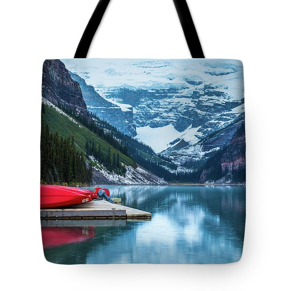 Red Canoes In The Rain Tote Bag