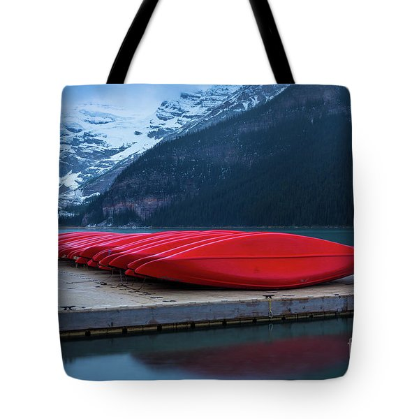 Red Canoes On The Dock Tote Bag