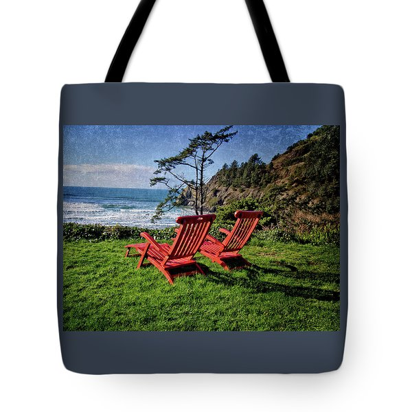 Red Chairs At Agate Beach Tote Bag