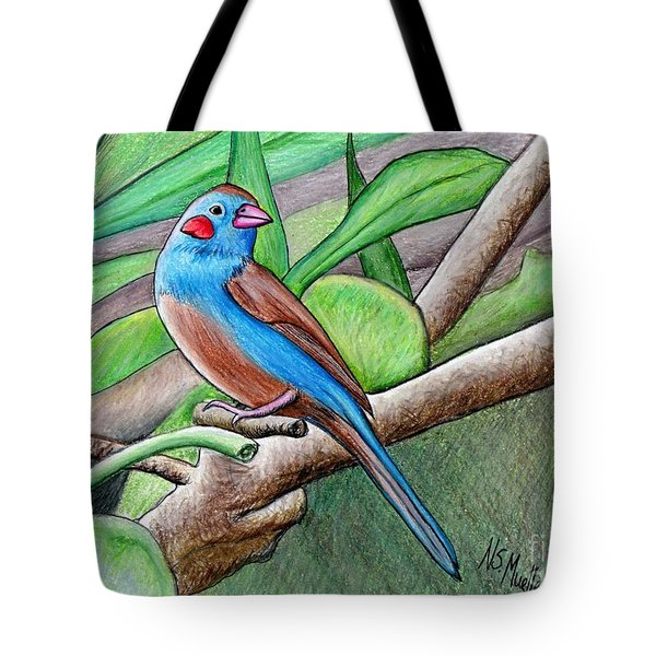 Red Cheeked Cordon Blue Finch Tote Bag