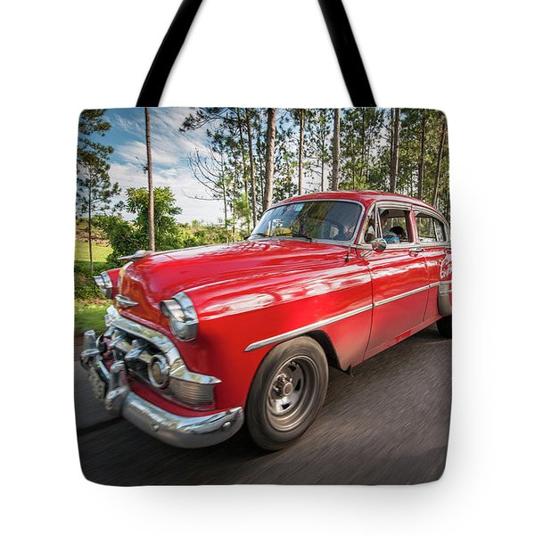 Red Classic Cuban Car Tote Bag