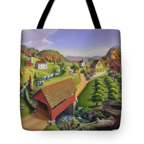 Red Covered Bridge Country Farm Landscape - Square Format Tote Bag