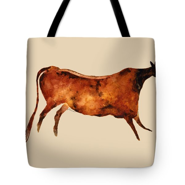 Red Cow In Beige Tote Bag