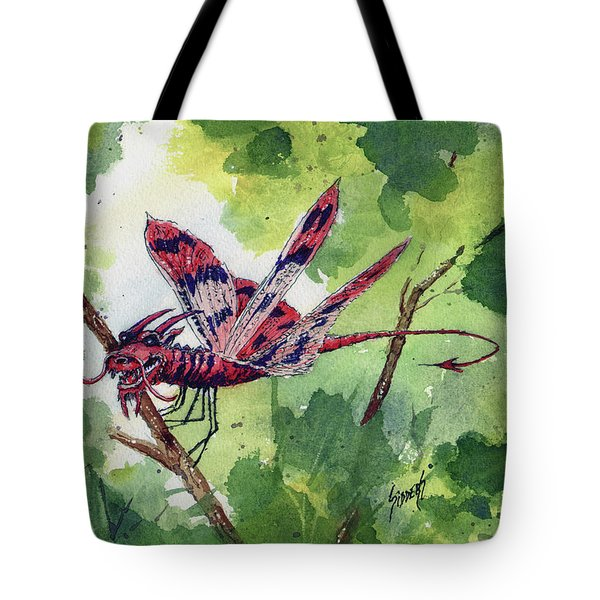 Tote Bag featuring the painting Red Dragonfly by Sam Sidders