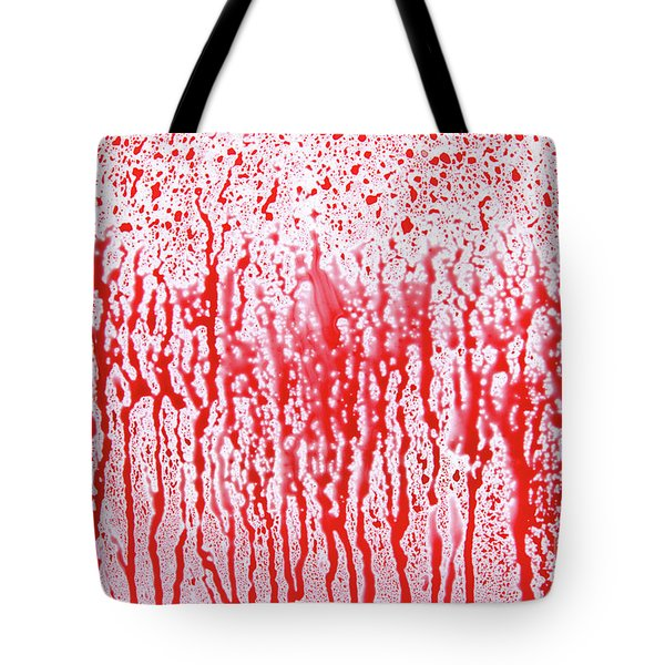 Red Dropping Splatters On White Surface Tote Bag
