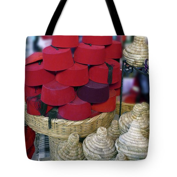 Red Fez Tarbouche And White Wicker Tagine Cookers Tote Bag