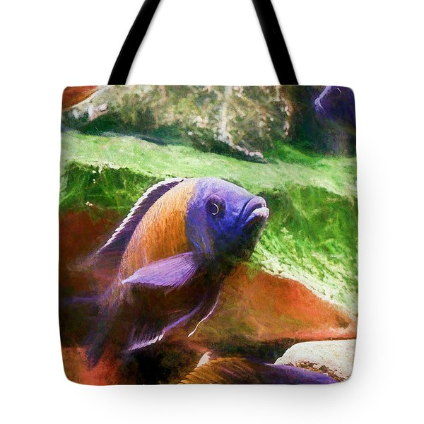Red Fin Borleyi Cichlid Rising Tote Bag