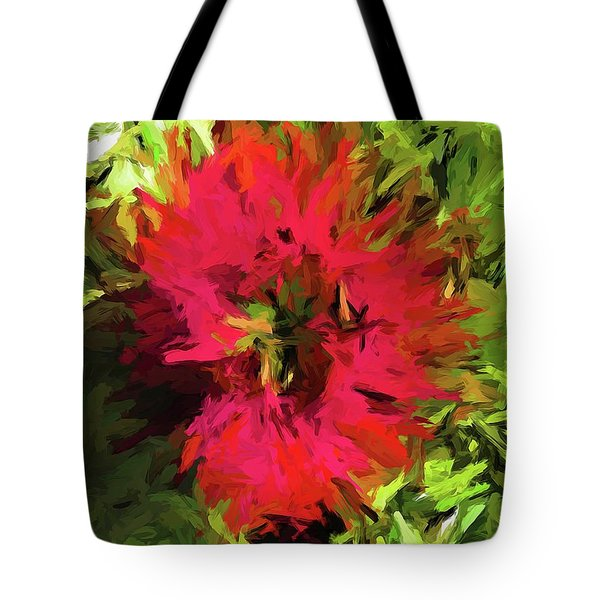 Red Flower Flames Tote Bag