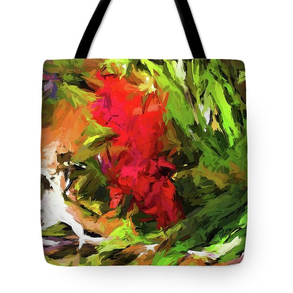 Red Flower On The Branch Tote Bag